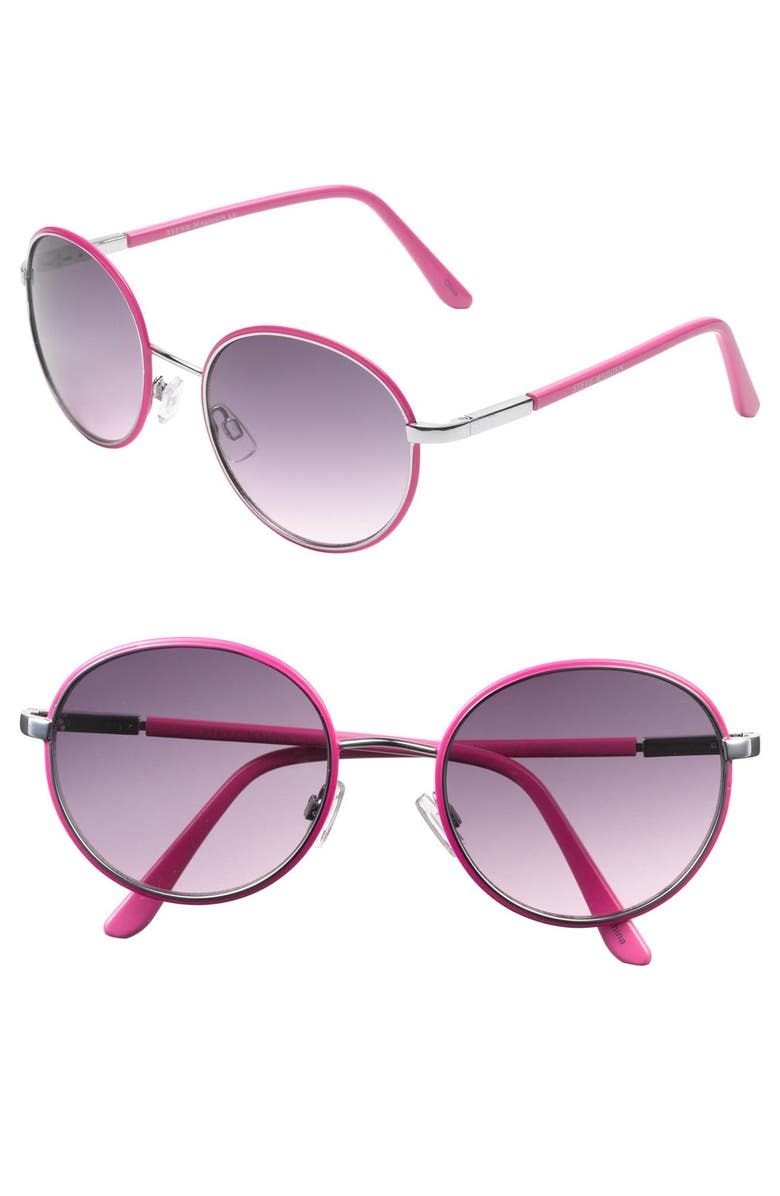 STEVE MADDEN Oval Sunglasses, Main, color, SILVER/ PINK