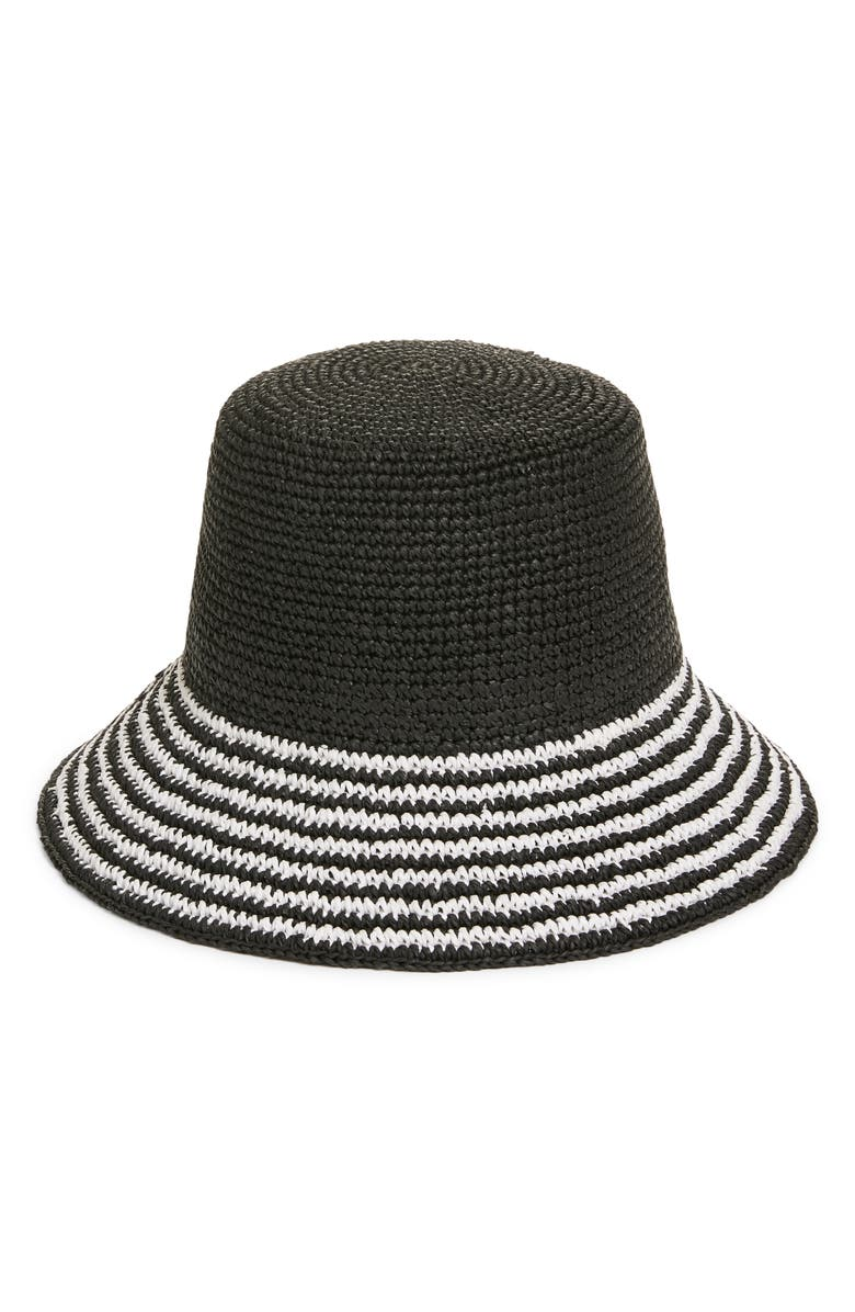 NORDSTROM Stripe Brim Straw Bucket Hat, Main, color, 001
