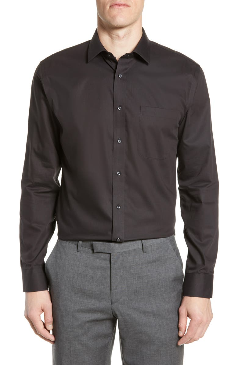 NORDSTROM Trim Fit Non-Iron Dress Shirt, Main, color, BLACK