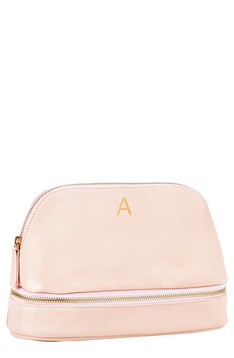 CATHY'S CONCEPTS Monogram Vegan Leather Cosmetics Case, Main, color, BLUSH PINK A