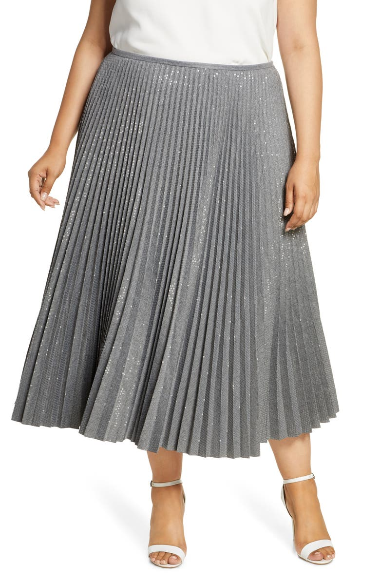 LAFAYETTE 148 NEW YORK Jahira Sequin Pleated Midi Skirt, Main, color, 020