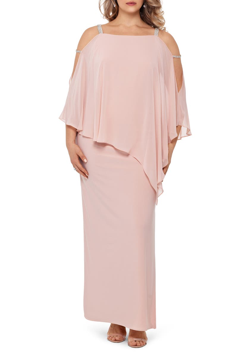 XSCAPE Chiffon Overlay Split Sleeve Gown, Main, color, BLUSH