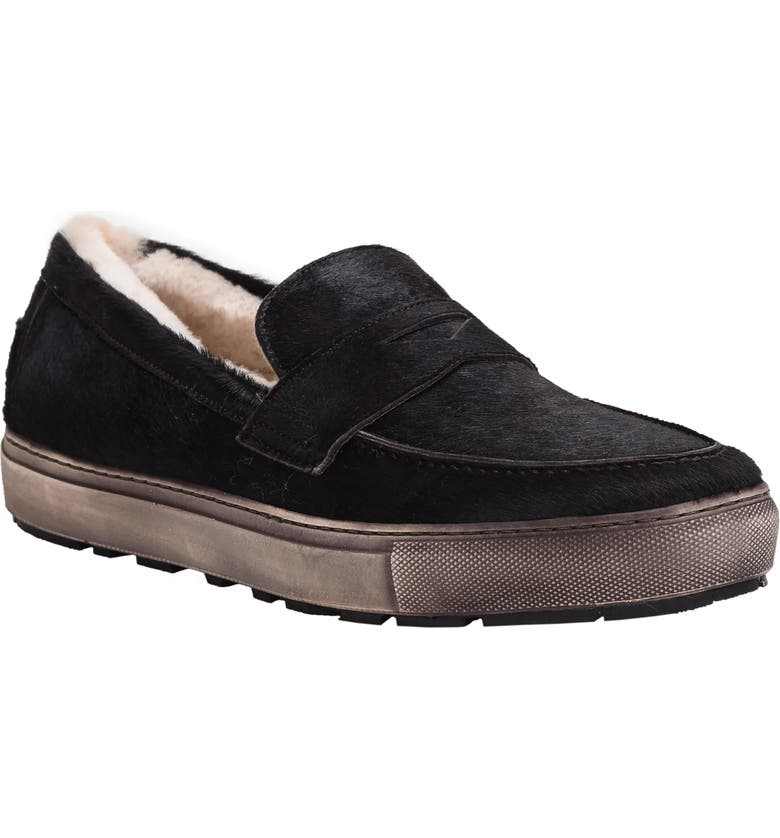 ROSS & SNOW Matteo Genuine Shearling Loafer Sneaker, Main, color, 001