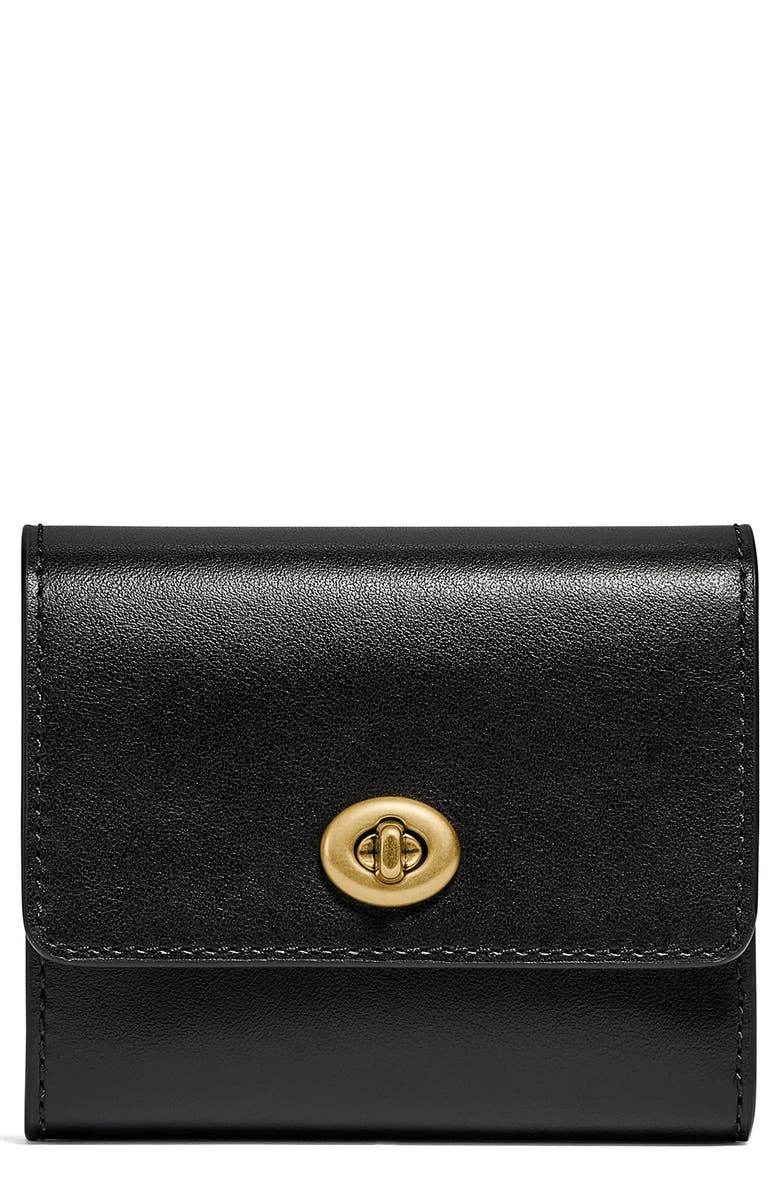 COACH Turnlock Small Leather Wallet, Main, color, BLACK