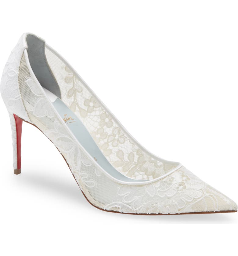 CHRISTIAN LOUBOUTIN Lace Pump, Main, color, OFF WHITE/ LINING BLUE