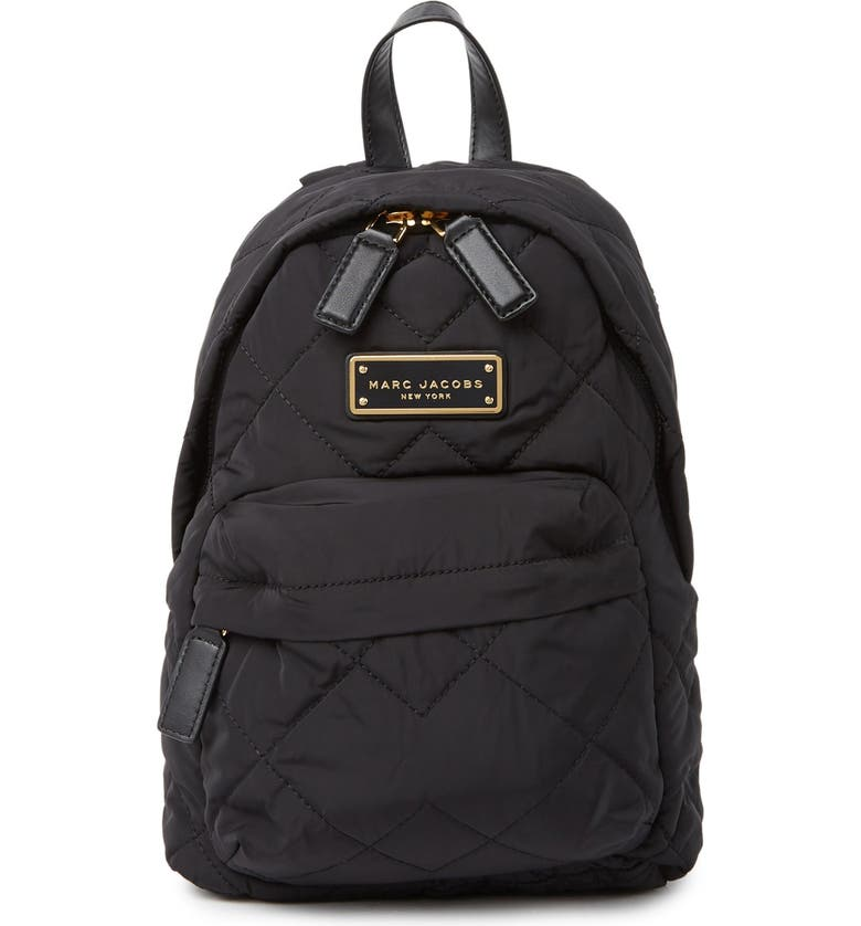 MARC JACOBS Quilted Nylon Mini Backpack, Main, color, BLACK
