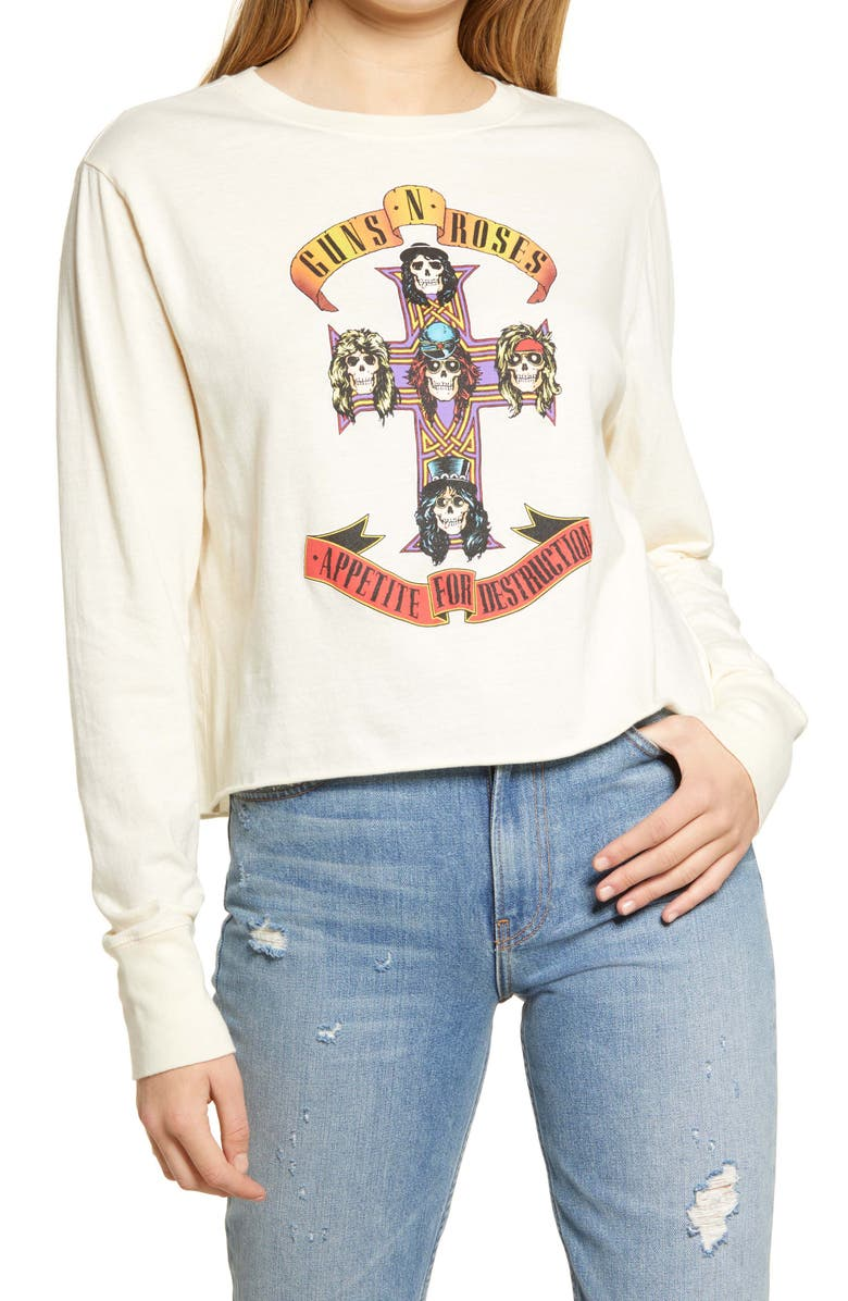 TREASURE & BOND Band Graphic Tee, Main, color, ANTIQUE WHITE- ROSES