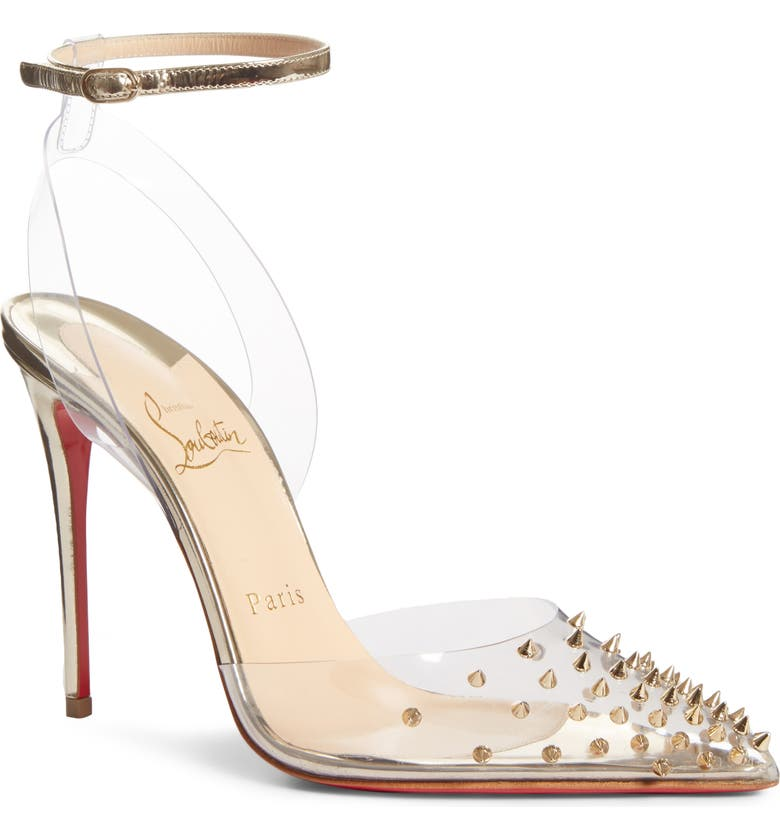 CHRISTIAN LOUBOUTIN Spikoo Clear Ankle Strap Pump, Main, color, LIGHT GOLD
