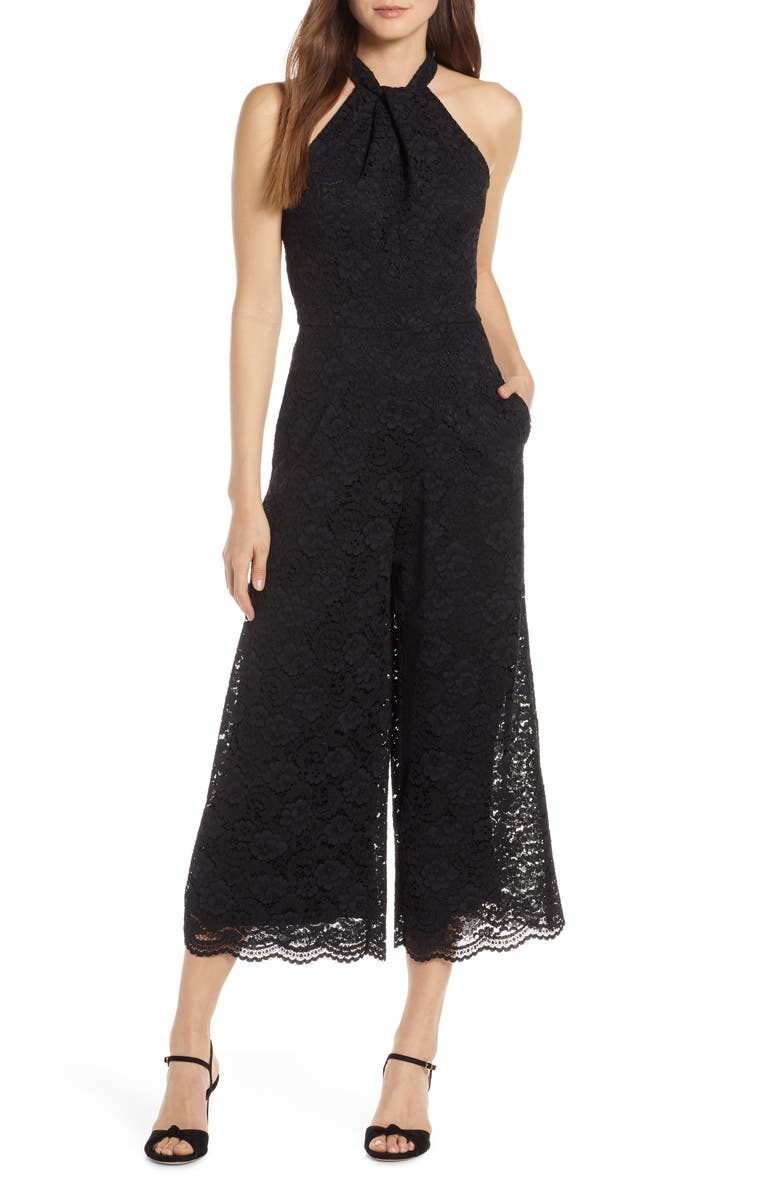 JULIA JORDAN Cropped Lace Jumpsuit, Main, color, 005
