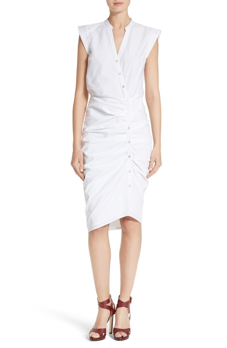 VERONICA BEARD Ruched Shirtdress, Main, color, WHITE