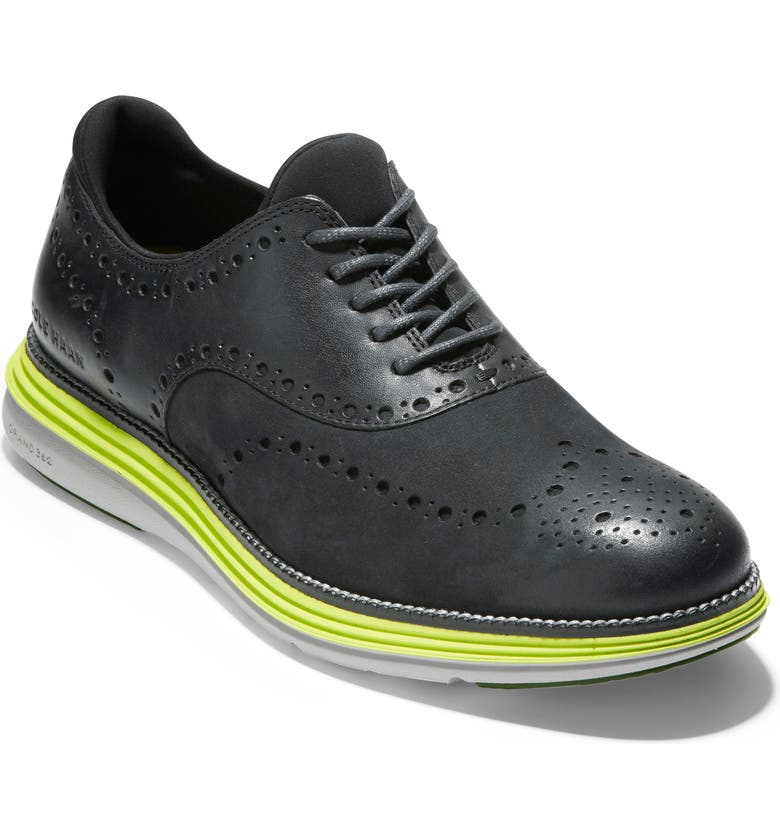 COLE HAAN Original Grand Ultra Wingtip, Main, color, BLACK/ SAFETY YELLOW/COOL GREY