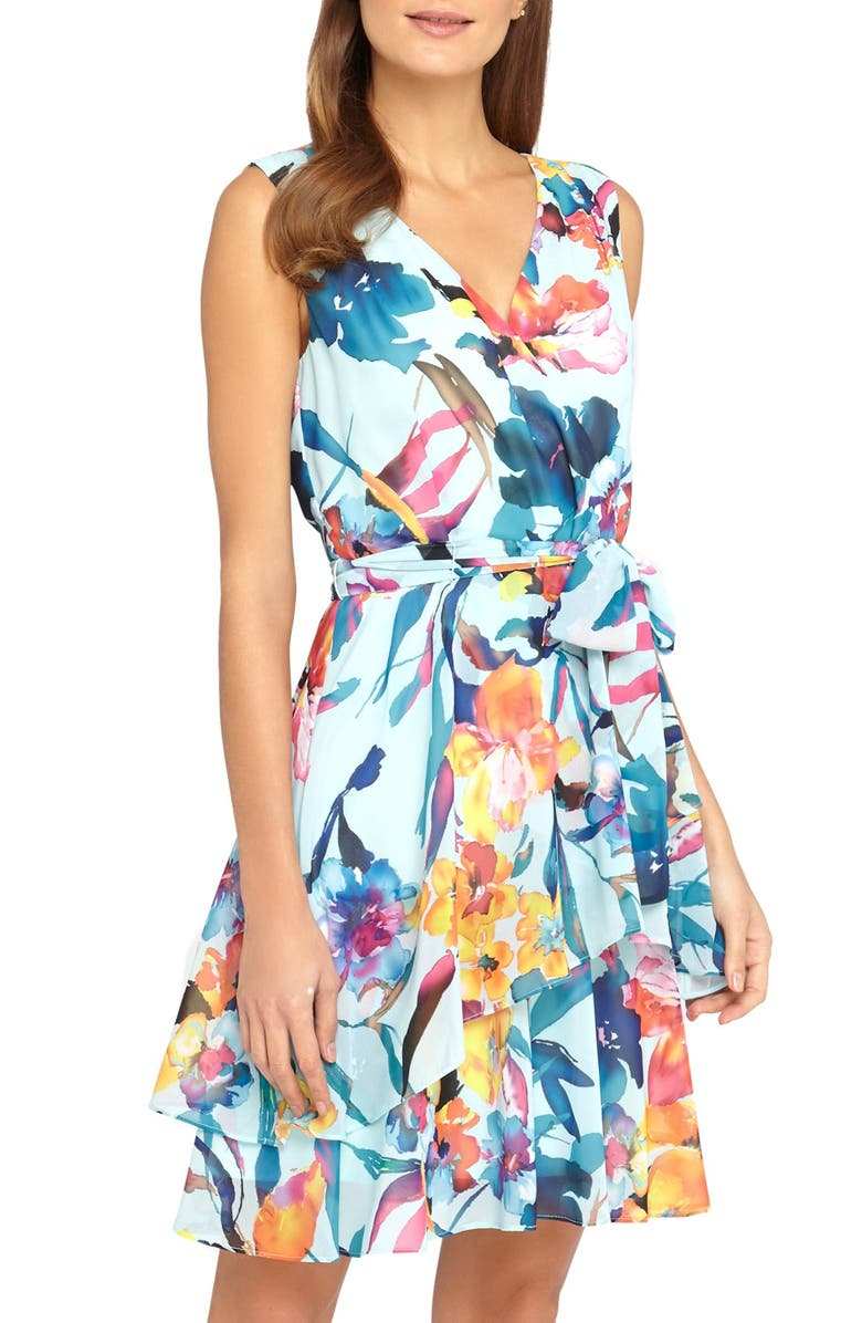 TAHARI Belted Floral Print Chiffon A-Line Dress, Main, color, SKY/ PERIWINKLE/ PEONY