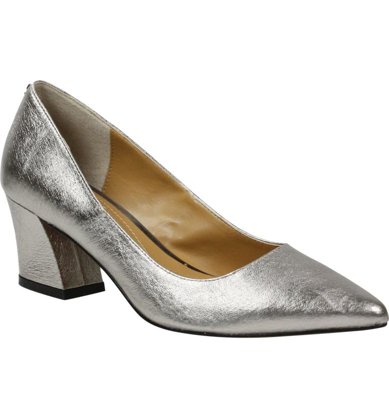 J. RENEÉ Fatemeh Metallic Pointed Toe Pump, Main, color, TAUPE METALLIC LEATHER