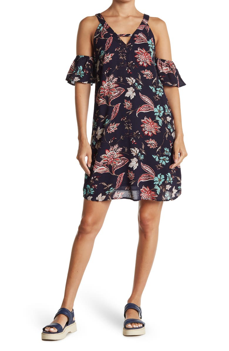 COLLECTIVE CONCEPTS Print Dress, Main, color, NAVY