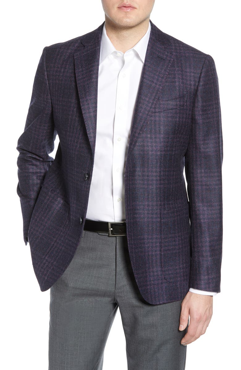 NORDSTROM SIGNATURE Trim Fit Plaid Wool Sport Coat, Main, color, 500