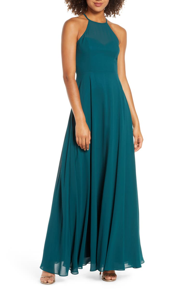 LULUS Night of Romance Halter Neck Chiffon Gown, Main, color, 300