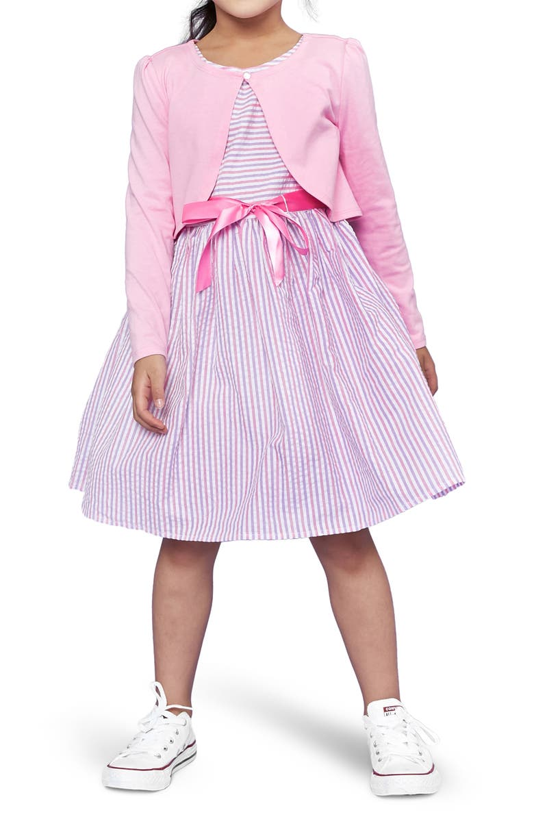 LITTLE ANGELS Striped Sleeveless Dress with Bolero, Main, color, PINK