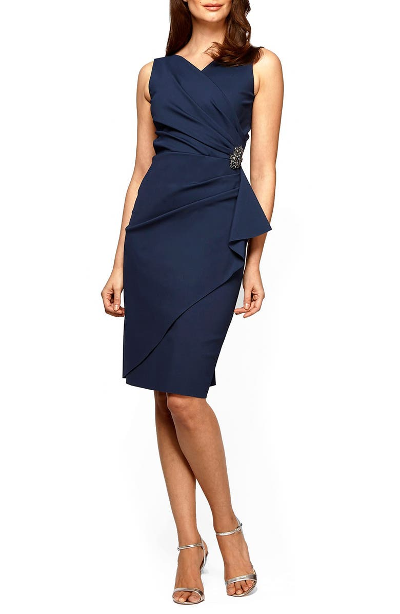 ALEX EVENINGS Side Ruched Cocktail Dress, Main, color, NAVY