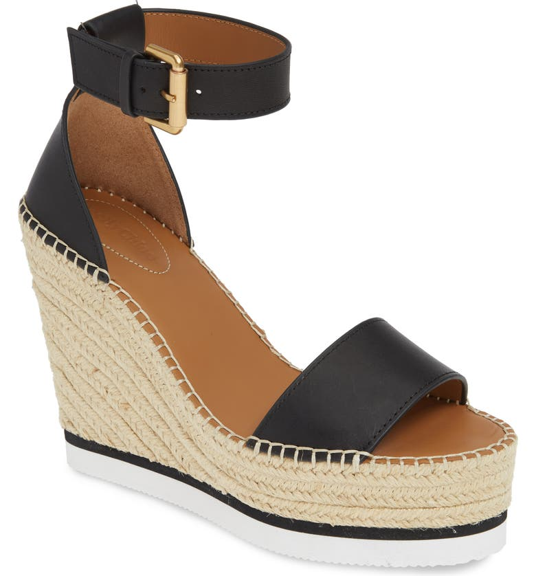 SEE BY CHLOÉ 'Glyn' Espadrille Wedge Sandal, Main, color, BLACK