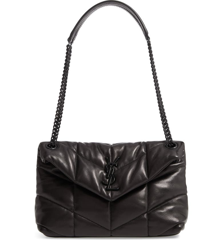 SAINT LAURENT Small Loulou Leather Puffer Bag, Main, color, NOIR
