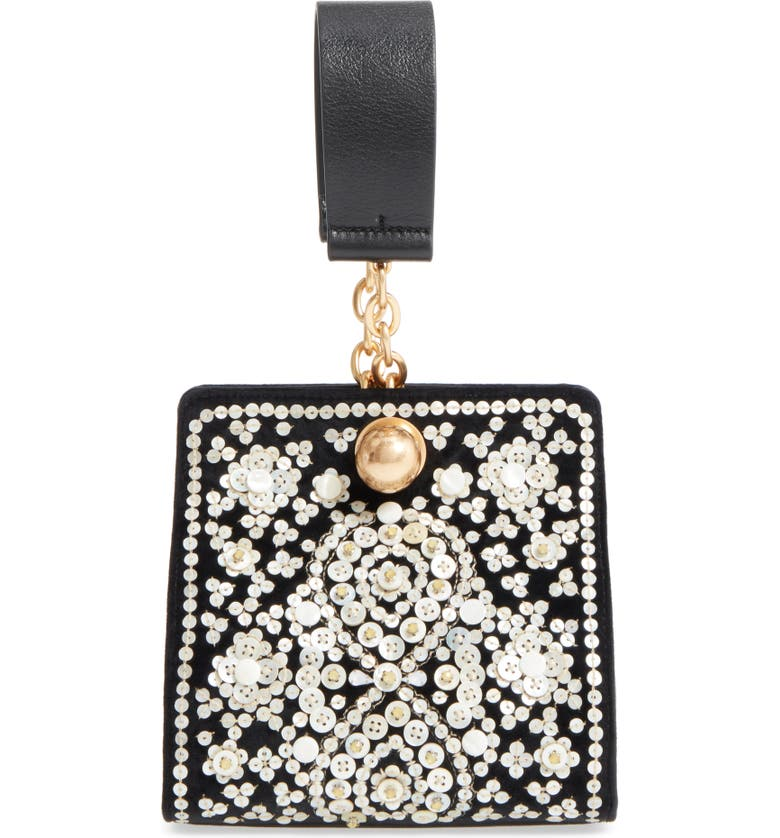 TORY BURCH Dexter Embellished Leather Clutch, Main, color, 001