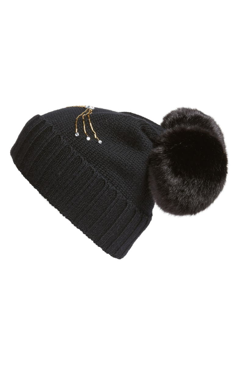 KATE SPADE NEW YORK cat beanie with faux fur pom, Main, color, 001