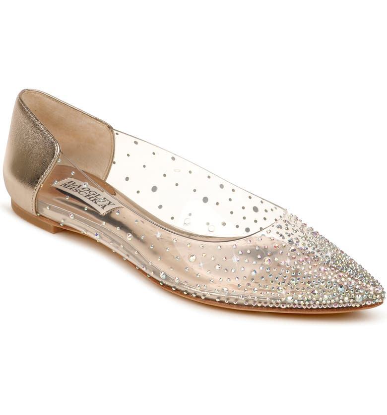 BADGLEY MISCHKA COLLECTION Gabi Embellished Pointed Toe Flat, Main, color, CHAMPAGNE LEATHER