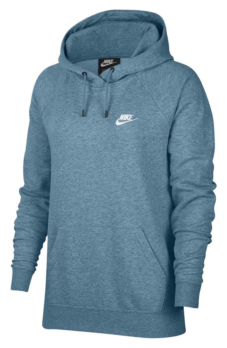 NIKE Sportswear Essential Pullover Fleece Hoodie, Main, color, CERULEAN/ HEATHER/ WHITE
