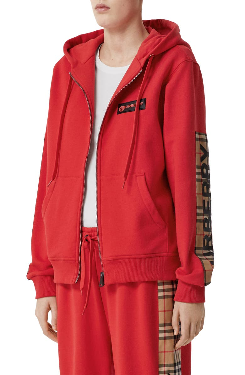 BURBERRY Aubree Vintage Check Panel Hoodie, Main, color, BRIGHT RED