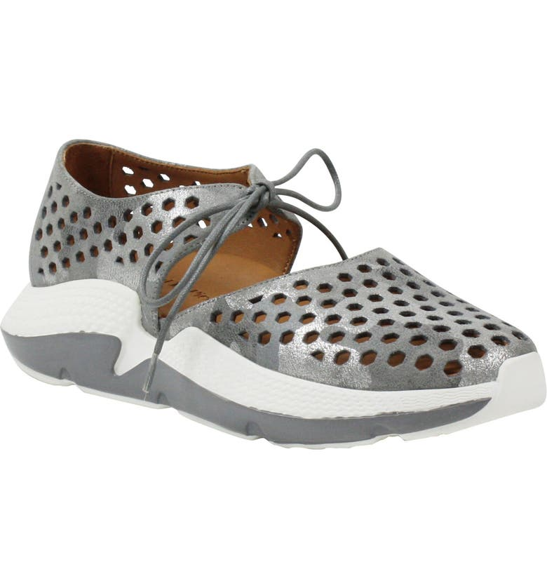 L'AMOUR DES PIEDS Himar Sneaker, Main, color, GREY SILVER CAMOUFLAGE LEATHER