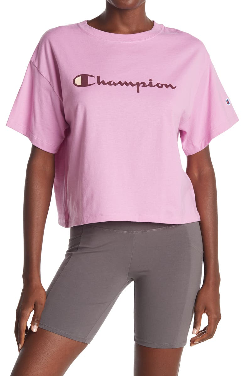 CHAMPION The Cropped Logo T-Shirt, Main, color, PAPER ORCHID