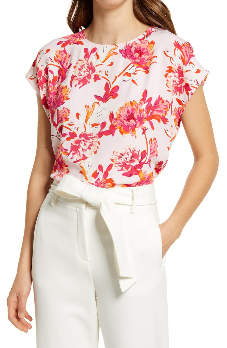 HALOGEN<SUP>®</SUP> Cap Sleeve Blouse, Main, color, PINK SHEER MEDOW FLORAL