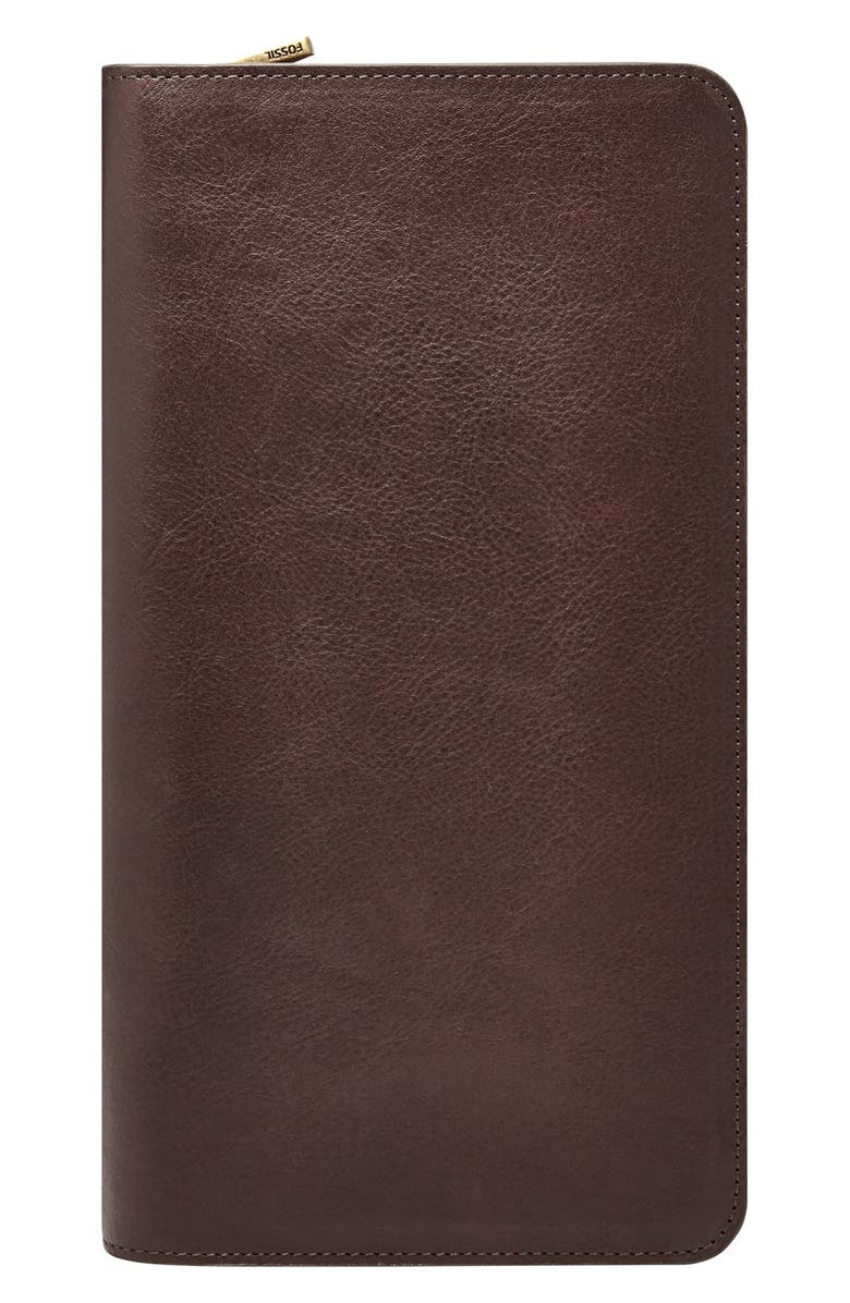FOSSIL Leather Zip Passport Case, Main, color, 201