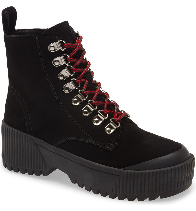JEFFREY CAMPBELL Finches Combat Boot, Main, color, BLACK SUEDE