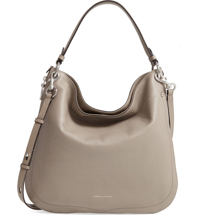 REBECCA MINKOFF Jody Convertible Leather Hobo Bag, Main, color, TAUPE