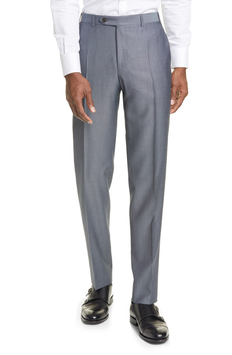 CANALI Classic Fit Flat Front Wool & Mohair Dress Pants, Main, color, Grey