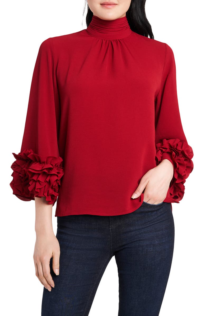 VINCE CAMUTO Ruffle Sleeve Blouse, Main, color, DEEP RED
