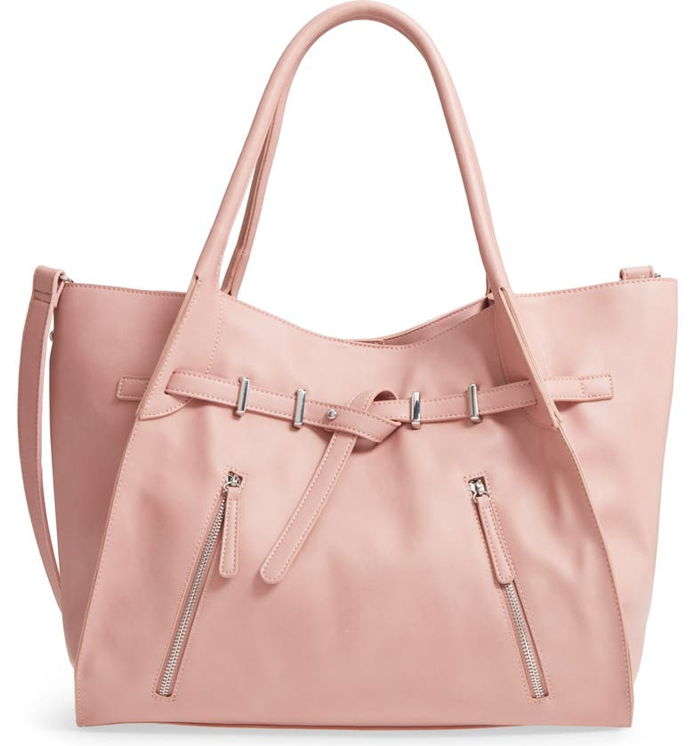 MALIBU SKYE Large Faux Leather Carryall Tote, Main, color, 650