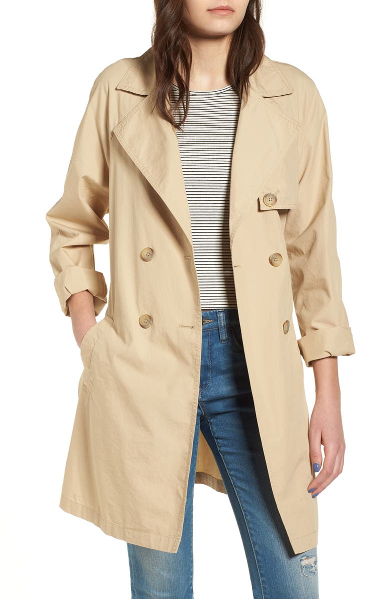 BP. Double Breasted Belted Trench Coat, Main, color, 260