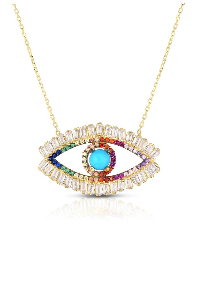 SPHERA MILANO 14K Yellow Gold Plated Sterling Silver Turquoise & Pave Rainbow CZ Evil Eye Pendant Necklace, Main, color, RAINBOW/YELLOW GOLD