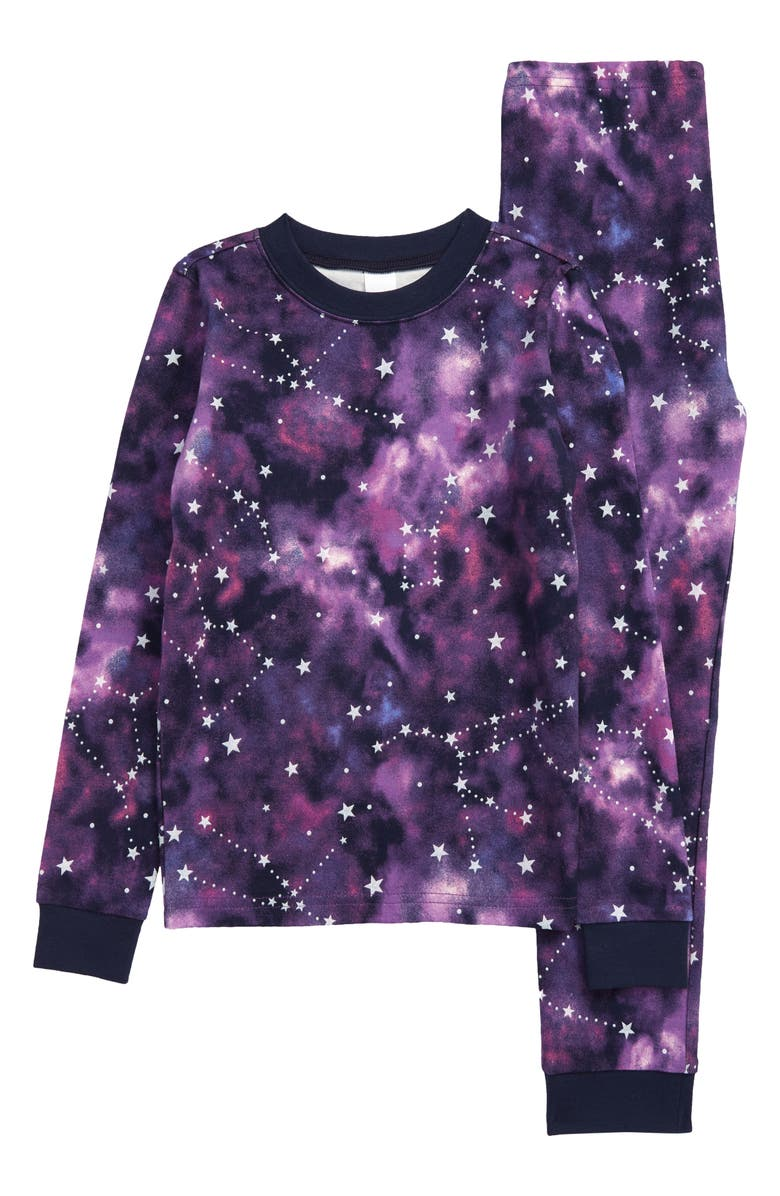 TUCKER + TATE Fitted Two-Piece Pajamas, Main, color, NAVY PEACOAT TIE DYE STARS