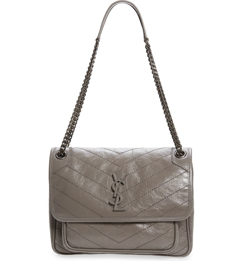 SAINT LAURENT Medium Niki Leather Shoulder Bag, Main, color, FOG