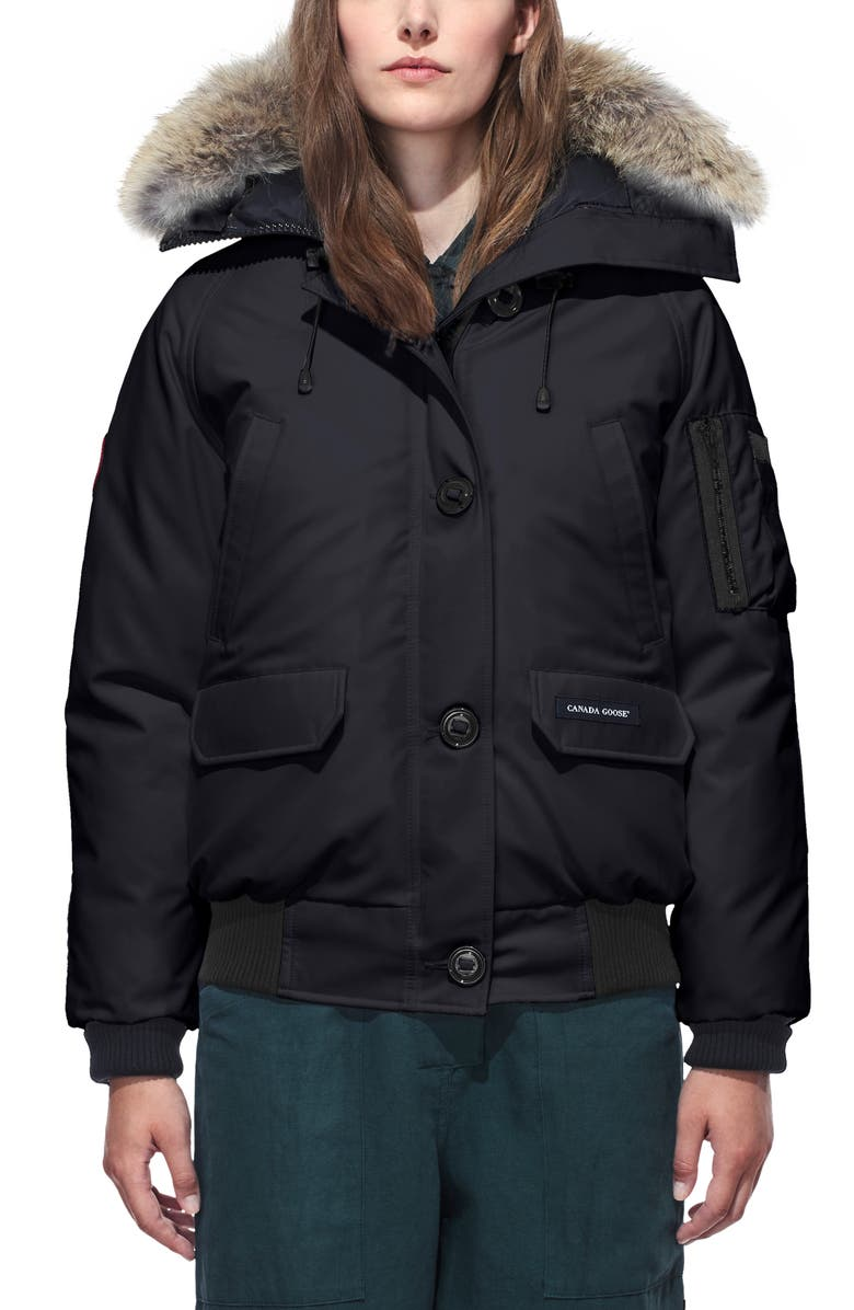 CANADA GOOSE Chilliwack Hooded Down Bomber Jacket with Genuine Coyote Fur Trim, Main, color, NAVY