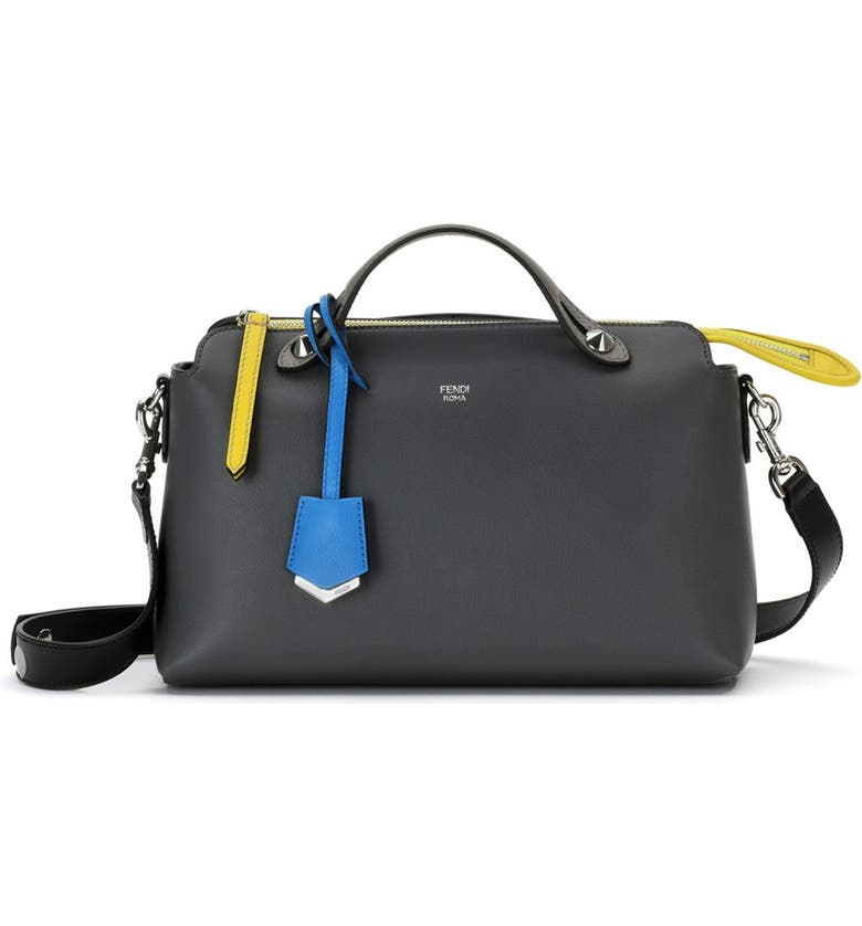 FENDI 'Small By the Way' Colorblock Leather Shoulder Bag, Main, color, ANTHRACITE/ MULTI