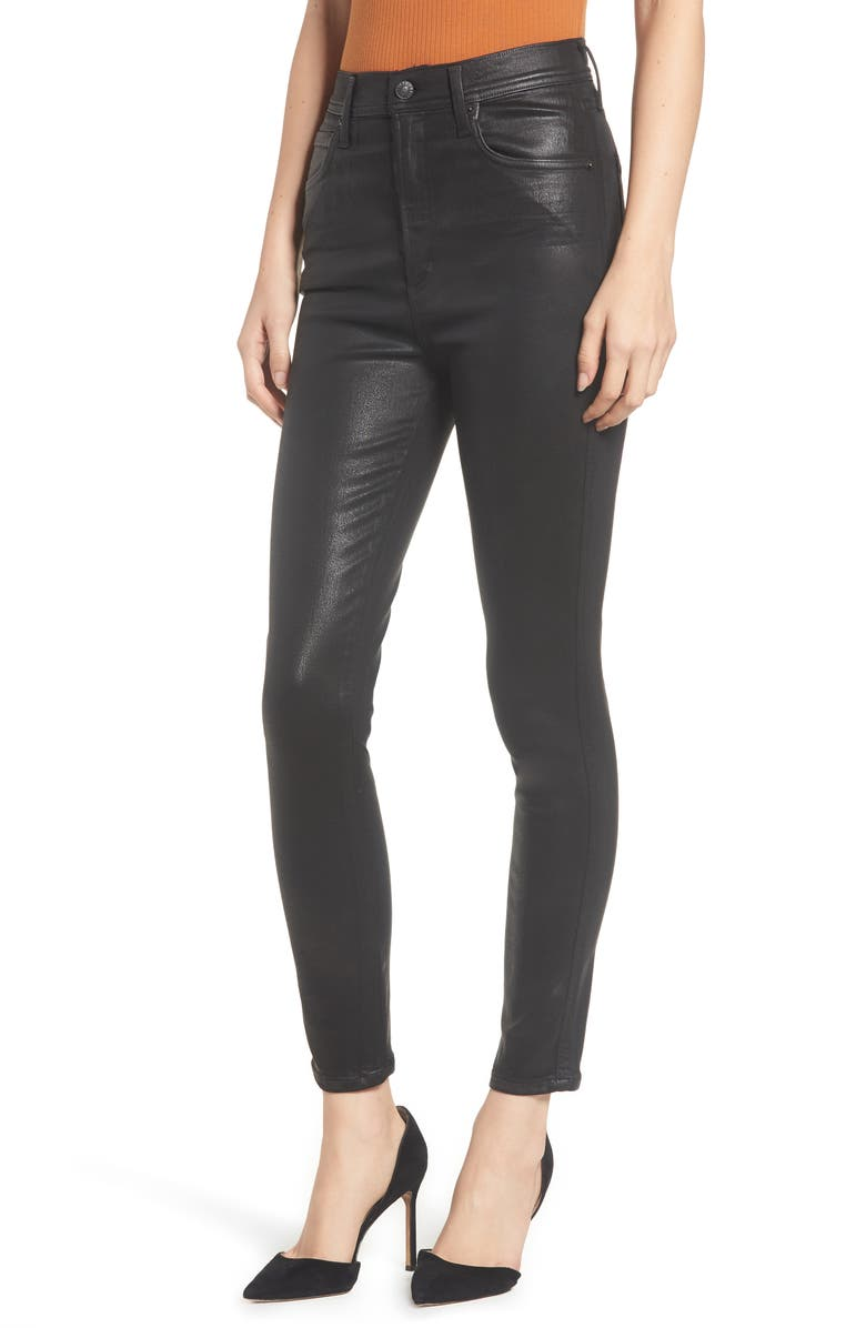 AGOLDE Roxanne Faux Leather High Waist Ankle Skinny Pants, Main, color, BLACK LEATHERETTE