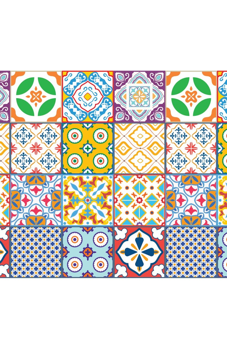 WALPLUS Classic Mediterranean Colorful Mixed Tiles Wall Stickers - 6 x 6 inches - 24 Pieces, Main, color, BLUE