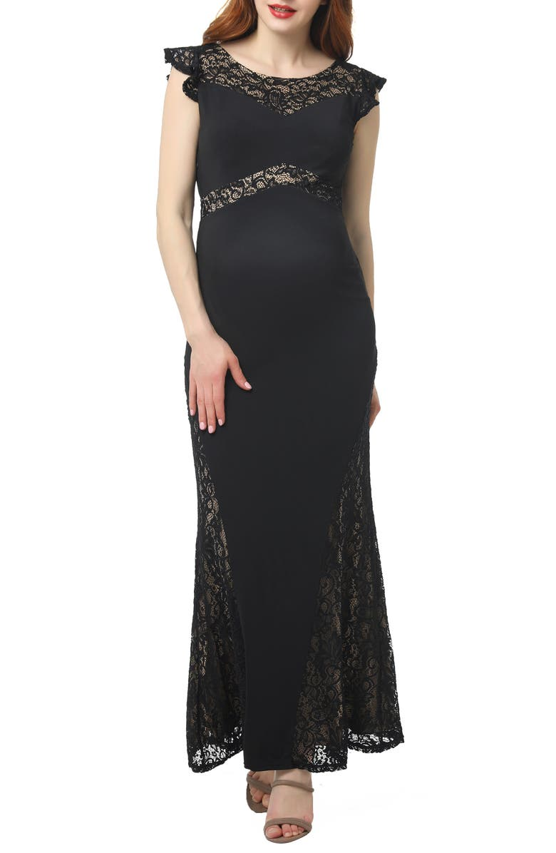 KIMI AND KAI Audrey Lace Trim Maternity Gown, Main, color, BLACK