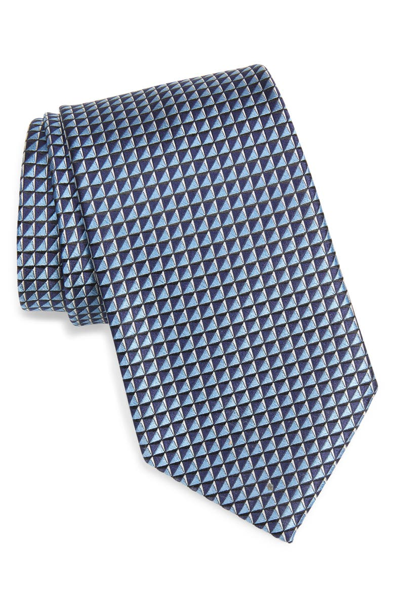 ERMENEGILDO ZEGNA Microgrid Silk Tie, Main, color, LIGHT BLUE