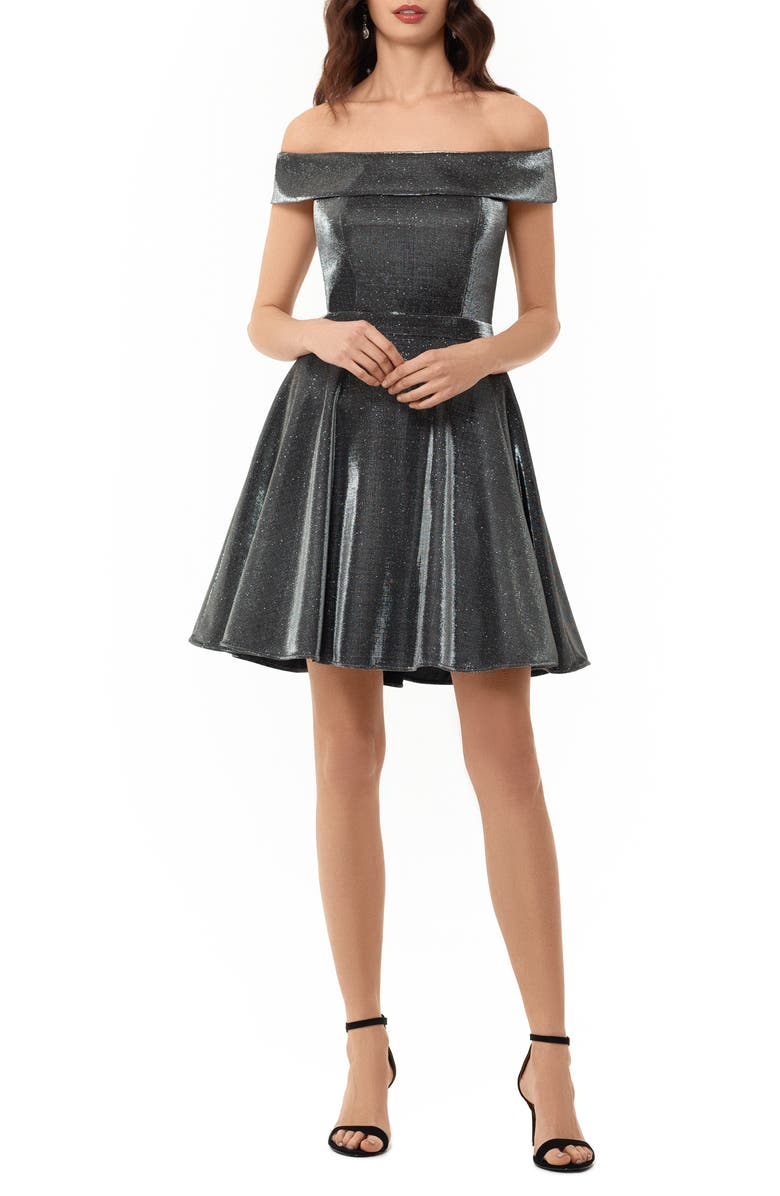 XSCAPE Off the Shoulder Glitter Cocktail Dress, Main, color, 002