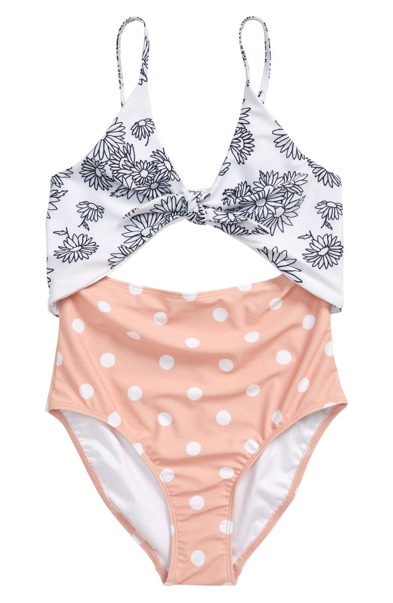 NORDSTROM Cutout Colorblock One-Piece Swimsuit, Main, color, WHITE DAISY- CORAL DOT